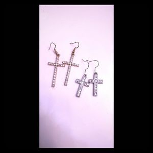 Diamond Cross Earrings